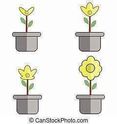 -, pot, vecteur, illustration, croissance, fleur, plante