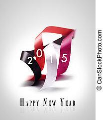 -, powitanie, rok, 2015, nowy, karta, szczęśliwy