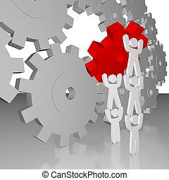 -, praca, teamwork, dokompletowując