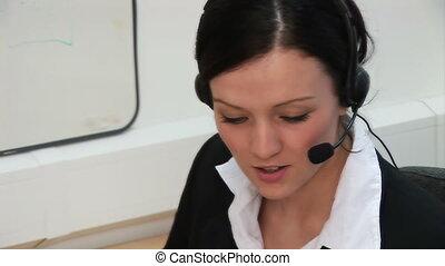 -, pracujący, 2, biuro, kobieta