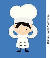 -, preocupado, caricatura, cute, cozinheiro