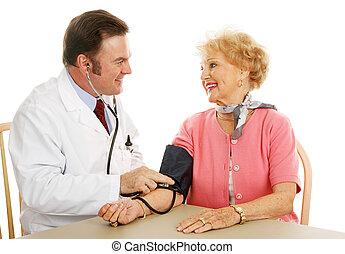 -, pressão, sangue, médico, normal, sênior