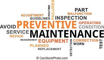 -, preventivo, manutenzione, parola, nuvola