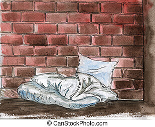 -, problème, trottoir, aquarelle, oreiller, illustration, homelessness, hand-drawn, couverture, bum's, lit, social, rue