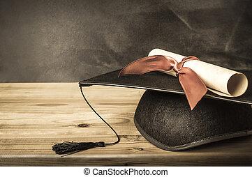 -, professeur, casquette, diplôme, &, remise de diplomes, bureau