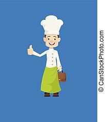 -, projection, pouce haut, chef cuistot