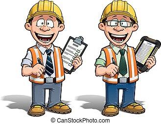 -, projeto, trabalhador construção, manag
