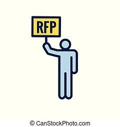 -, propuesta, petición, o, idea, icono, concepto, rfp