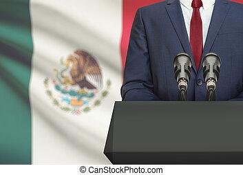 -, pulpito, o, messico, nazionale, fondo, fabbricazione, discorso, dietro, bandiera, uomo affari, politico