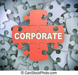 -, puzzel, 3d, korporativ, stücke