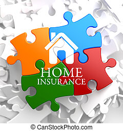 -, puzzle., multicolore, assurance maison, icône