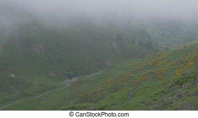 -, pyrenees, tłumaczenie, wzgórza, hiszpania, krajowiec