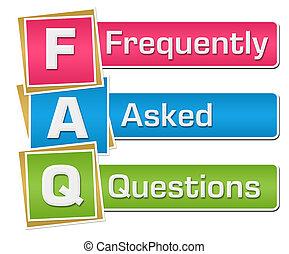 -, questions, frequently, demandé, faq, coloré, vertical