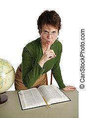 -, quiet!, bibliotekarie