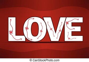 -, résumé, amour, arrière-plan rouge