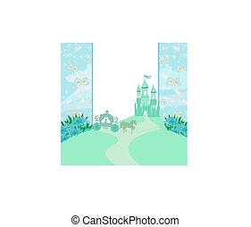 -, résumé, château, cadre, conte, fée, moyen-âge, voiture