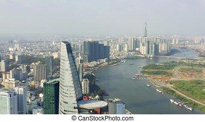 -, río, hochiminh., hochiminh, panorama, vietnam, aéreo, rascacielos, abril, céntrico, vista, saigon, 2020: