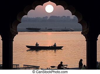 -, río, india, salida del sol, ganges