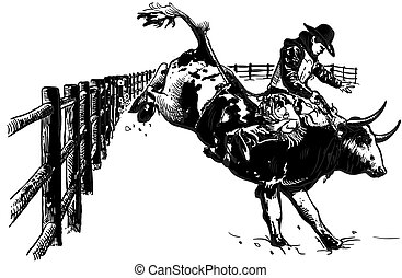 -, ręka, rodeo, wektor, pociągnięty, freehand