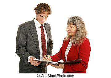 -, rapports, série, discuter, mentoring
