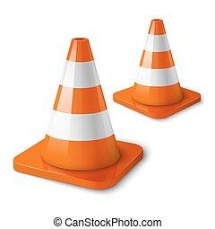 -, realístico, vetorial, cone, laranja, estrada