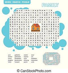 -, recherche, anglaise, puzzle, page, activité, coloration, ...