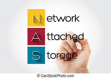-, red, siglas, nas, almacenamiento, unido
