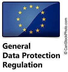 -, regulation., général, drapeau, protection, étoiles, eu,...
