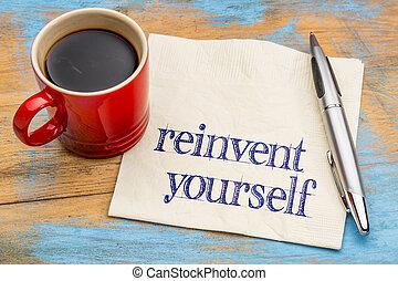 -, reinvent, ナプキン, あなた自身, 手書き