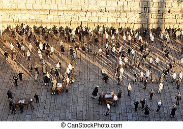 -, reizen, westelijk, jeruzalem, israël, foto's, muur