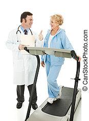 -, relatório, positivo, sênior, condicão física