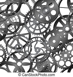 -, reloj, seamless, textura, vector, engranajes