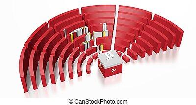 -, rendre, homme, élection, parlement, île, 3d