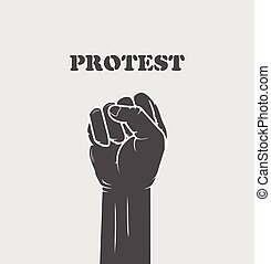 -, replié, grève, poing, concept, résistance