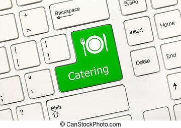 -, restauration, key), clavier, conceptuel, blanc, (green