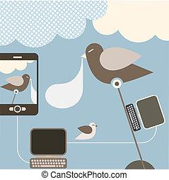 -, rete, illustrazione, sociale