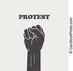 -, revirado, greve, punho, conceito, resistência