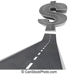 -, ricchezze, dollaro, segno strada, strada