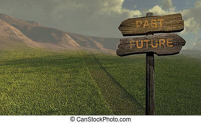 -, richting, toekomst, meldingsbord, voorbij