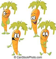 -, rigolote, vecteur, carotte, dessin animé