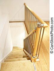 -, ringhiera, casa, interno, scale, cromo, moderno