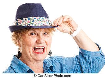 -, rir, mulher, middle-aged, feliz