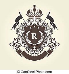 -, ritterwappen, mantel, arme, königlich, blazon, kaiserlich, schutzschirm, krone
