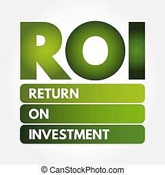 -, roi, acrônimo, retorno, investimento