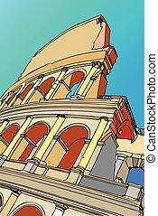 -, rom, italien, colosseum