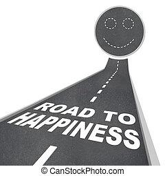 -, rosto, pavimento, rua, felicidade, sorrindo, estrada