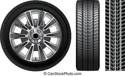 -, roue, pneu, bord