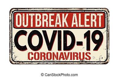 -, rouillé, maladie, coronavirus, signe, covid-19, métal, vendange