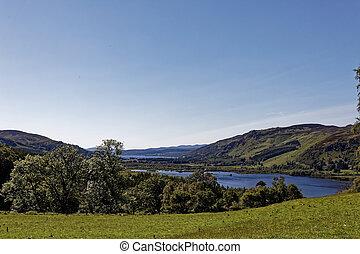 -, royaume, uni, dunalastair, vue, lac, dun, pitlochry, ...