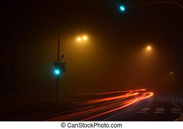-, ruas, itália, nevoeiro, brescia
